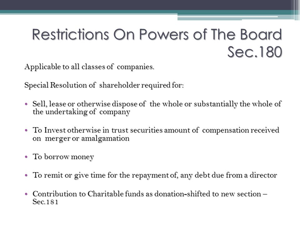 Restrictions On Powers of The Board Sec.180