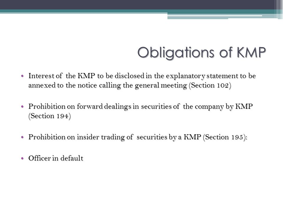 Obligations of KMP