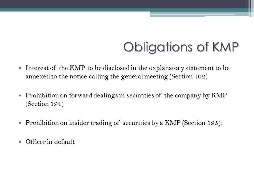 Obligations of KMP