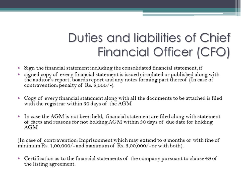Duties and liabilities of Chief Financial Officer (CFO)