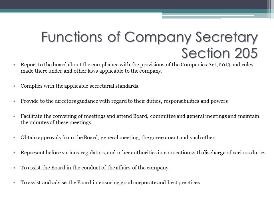 Functions of Company Secretary Section 205