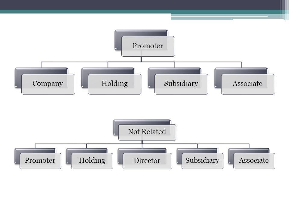 Promoter Company. Holding. Subsidiary. Associate. Not Related. Promoter. Holding. Director. Subsidiary.