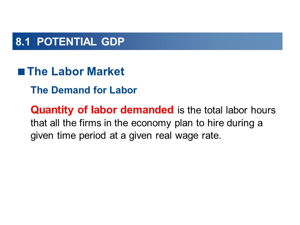 The Labor Market 8.1 POTENTIAL GDP