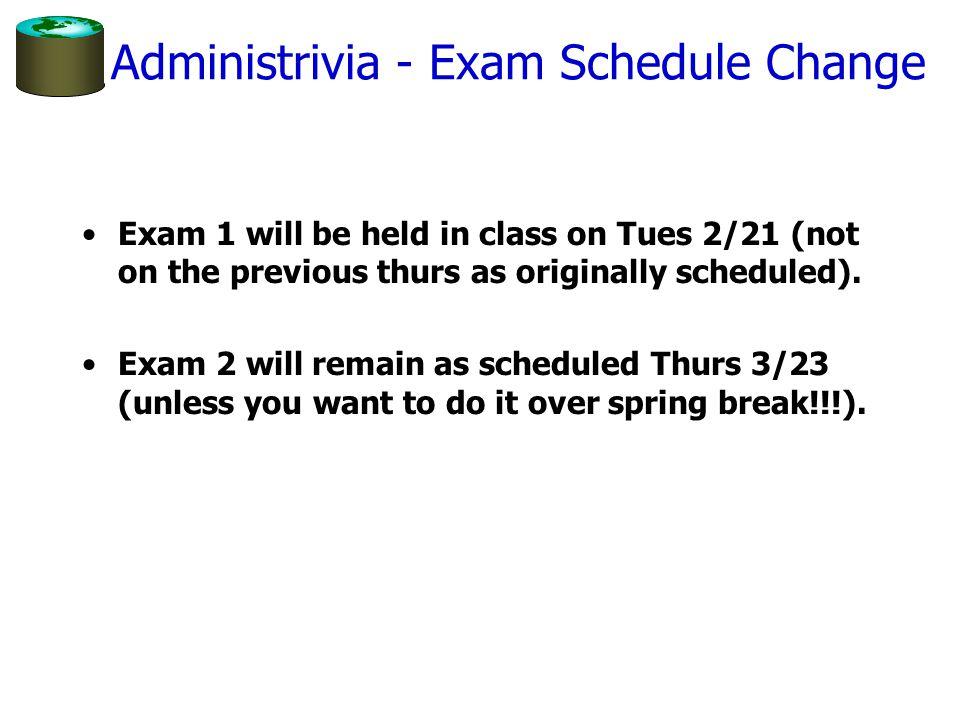 Administrivia - Exam Schedule Change