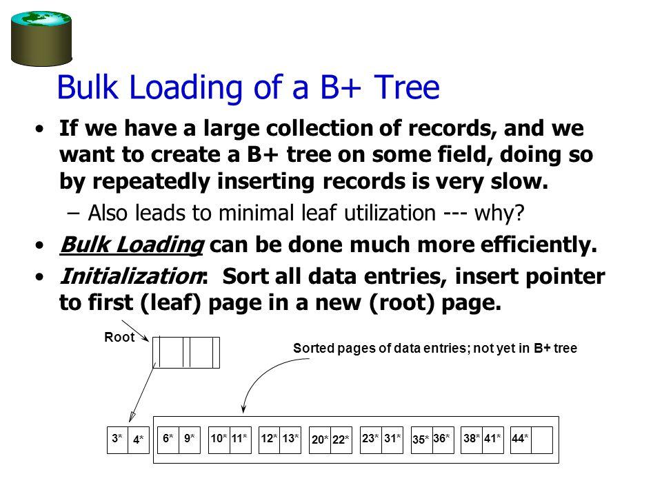 Bulk Loading of a B+ Tree
