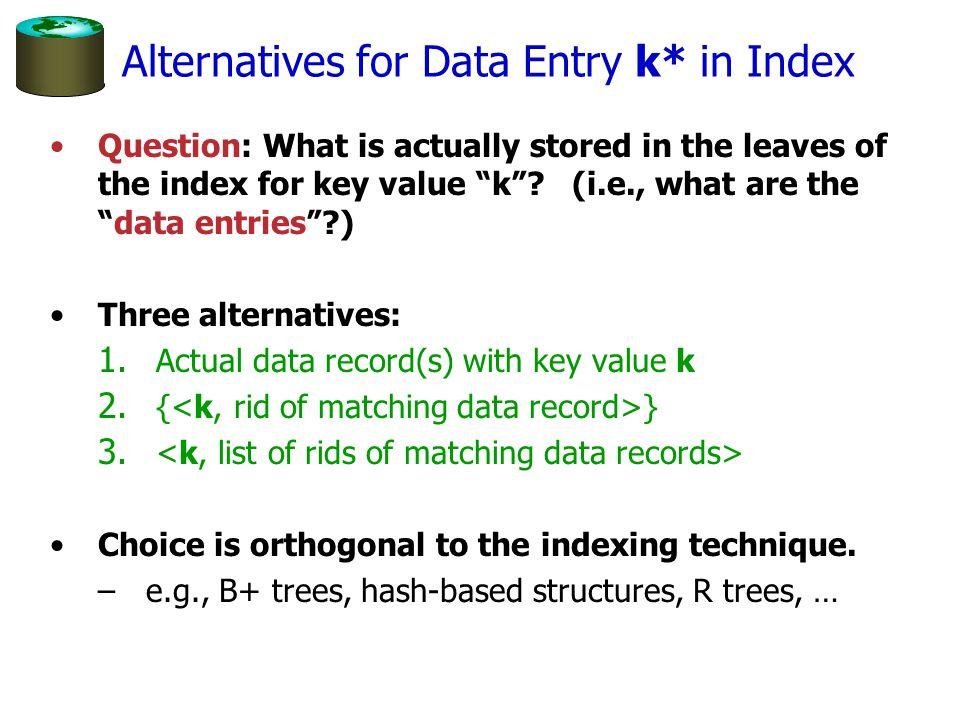 Alternatives for Data Entry k* in Index