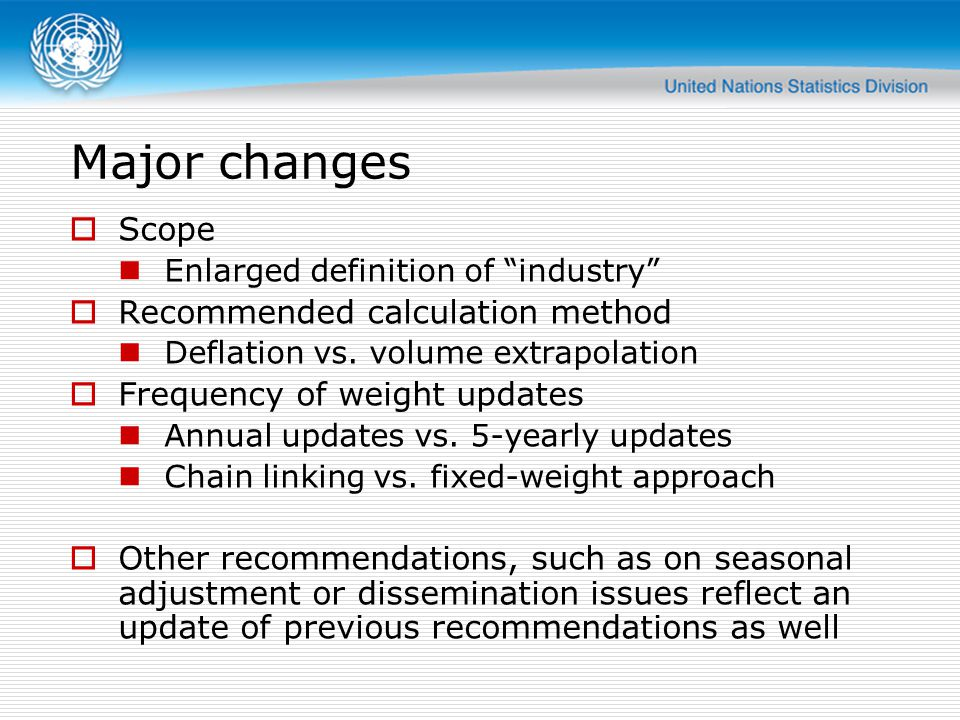 Major changes Scope Recommended calculation method