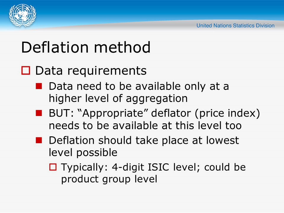 Deflation method Data requirements