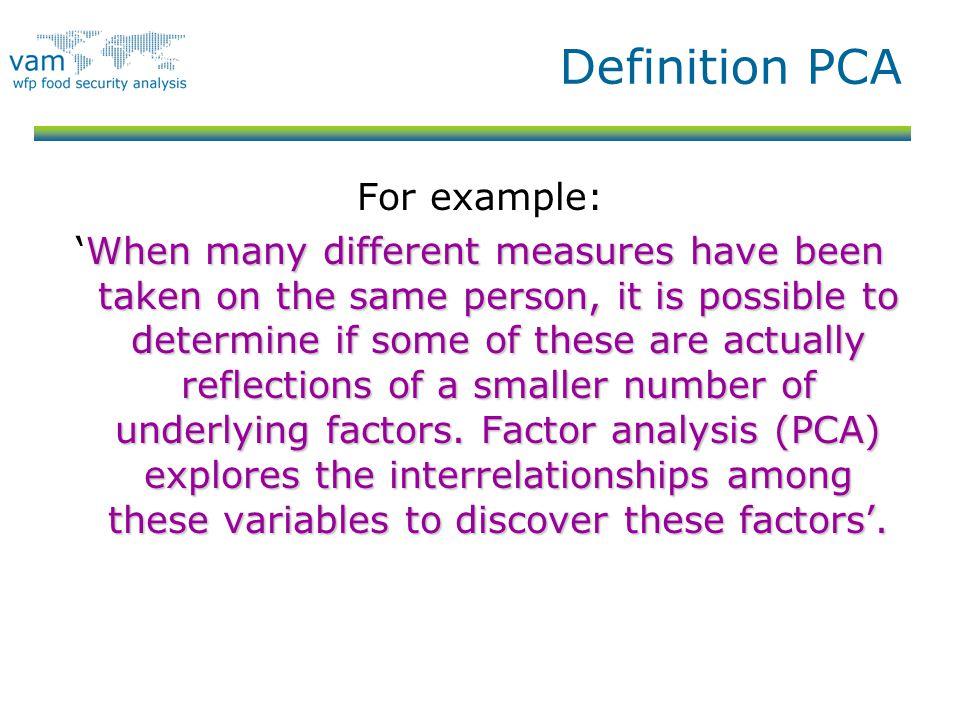 Definition PCA For example: