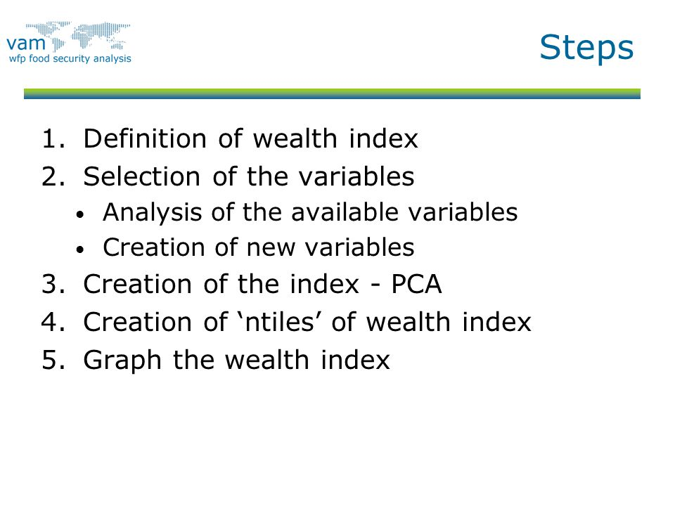 Steps Definition of wealth index Selection of the variables
