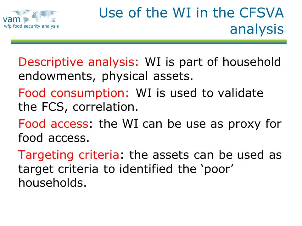 Use of the WI in the CFSVA analysis