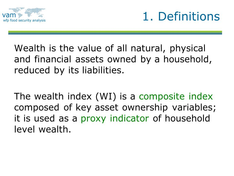 1. Definitions Wealth is the value of all natural, physical and financial assets owned by a household, reduced by its liabilities.