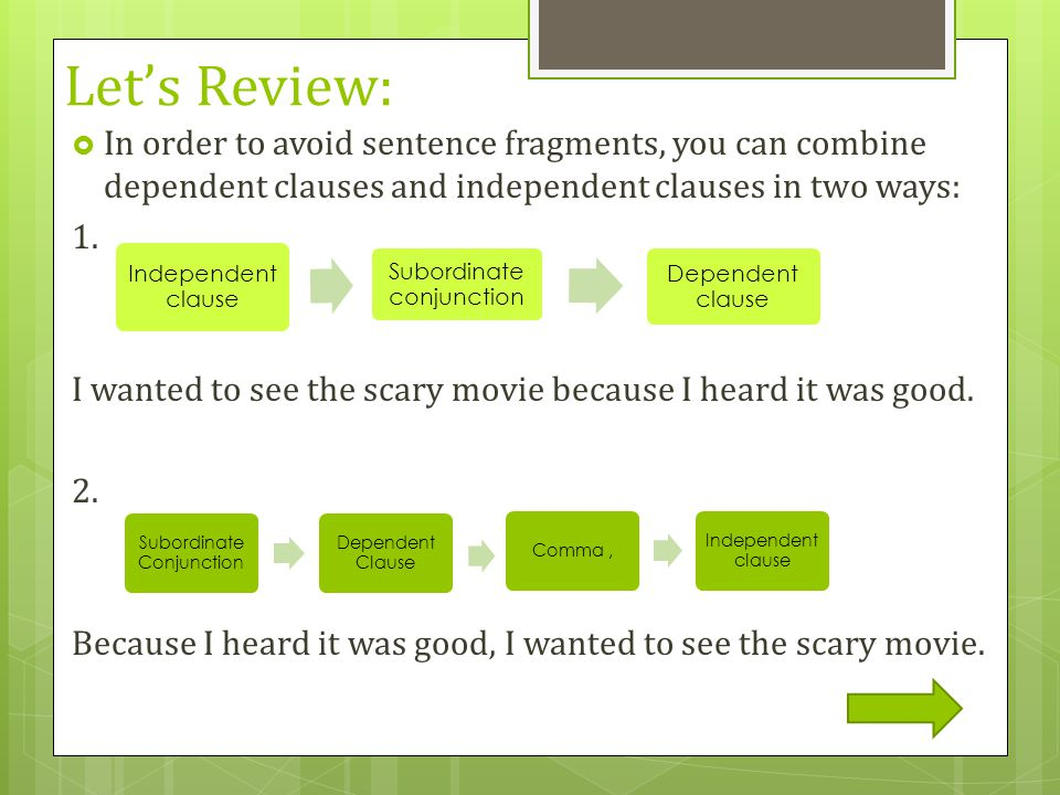 Let's Review: In order to avoid sentence fragments, you can combine dependent clauses and independent clauses in two ways: