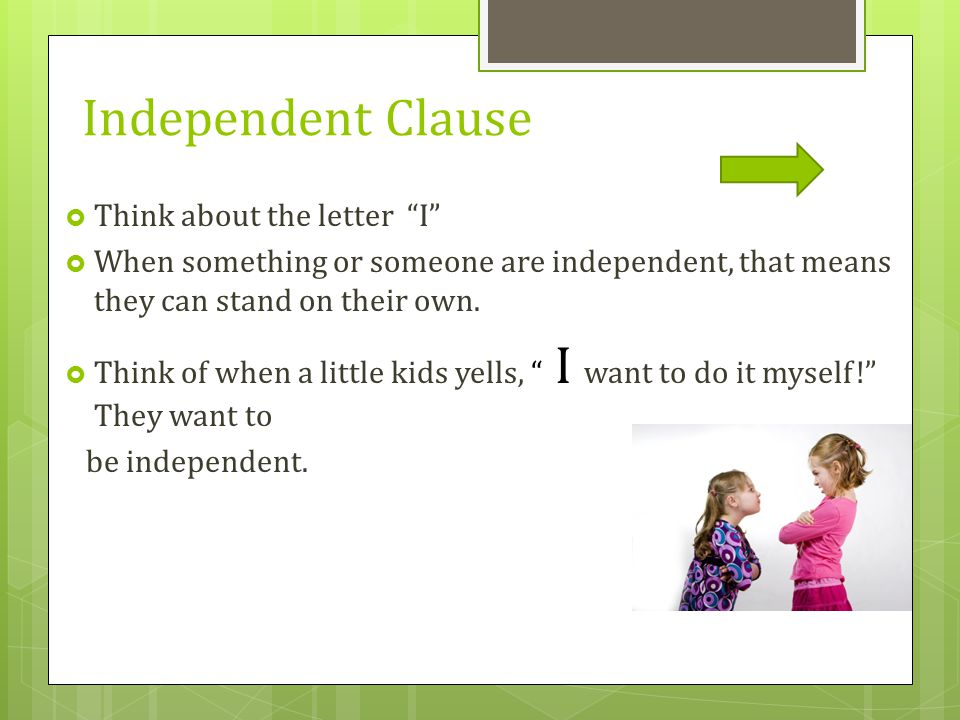 Independent Clause Think about the letter I