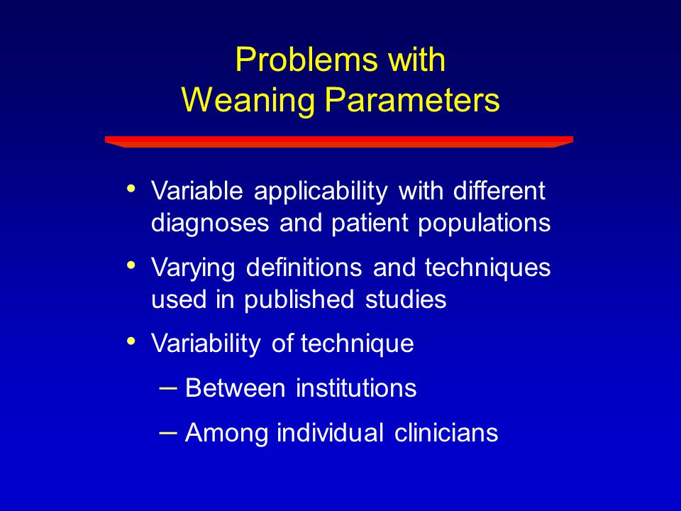 Problems with Weaning Parameters