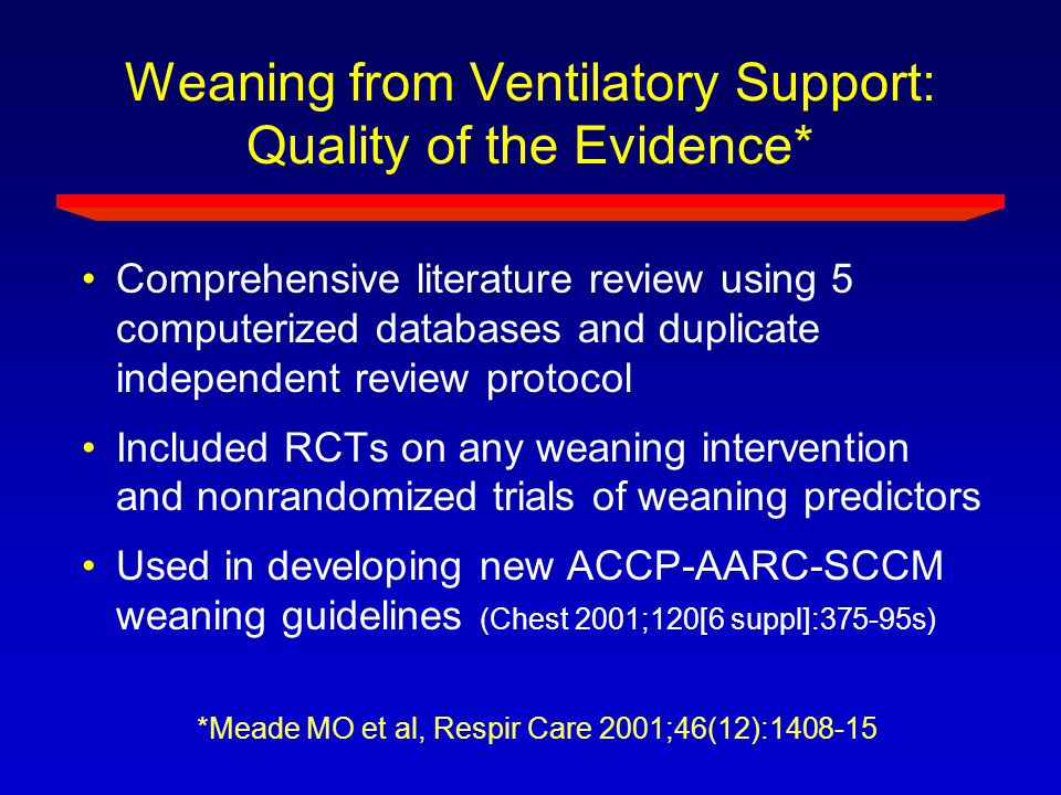Weaning from Ventilatory Support: Quality of the Evidence*