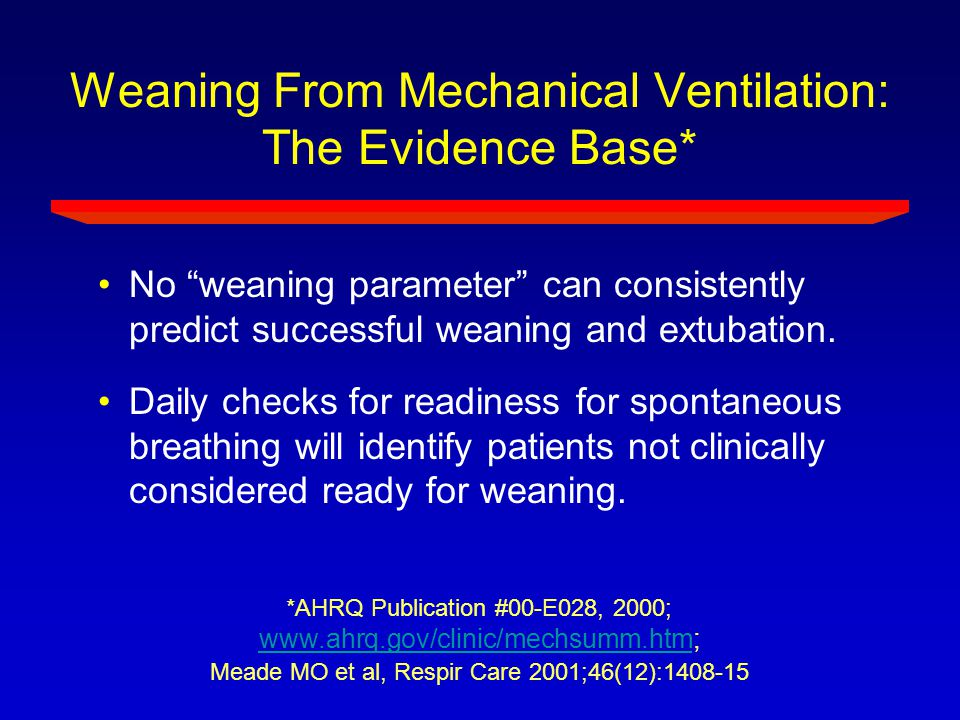 Weaning From Mechanical Ventilation: The Evidence Base*