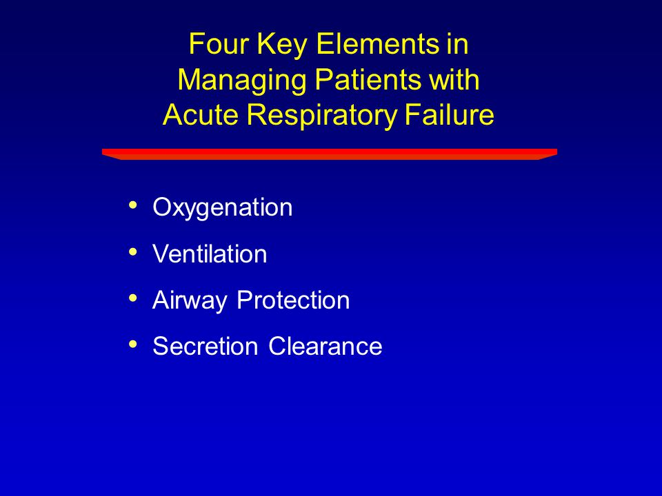 Four Key Elements in Managing Patients with Acute Respiratory Failure