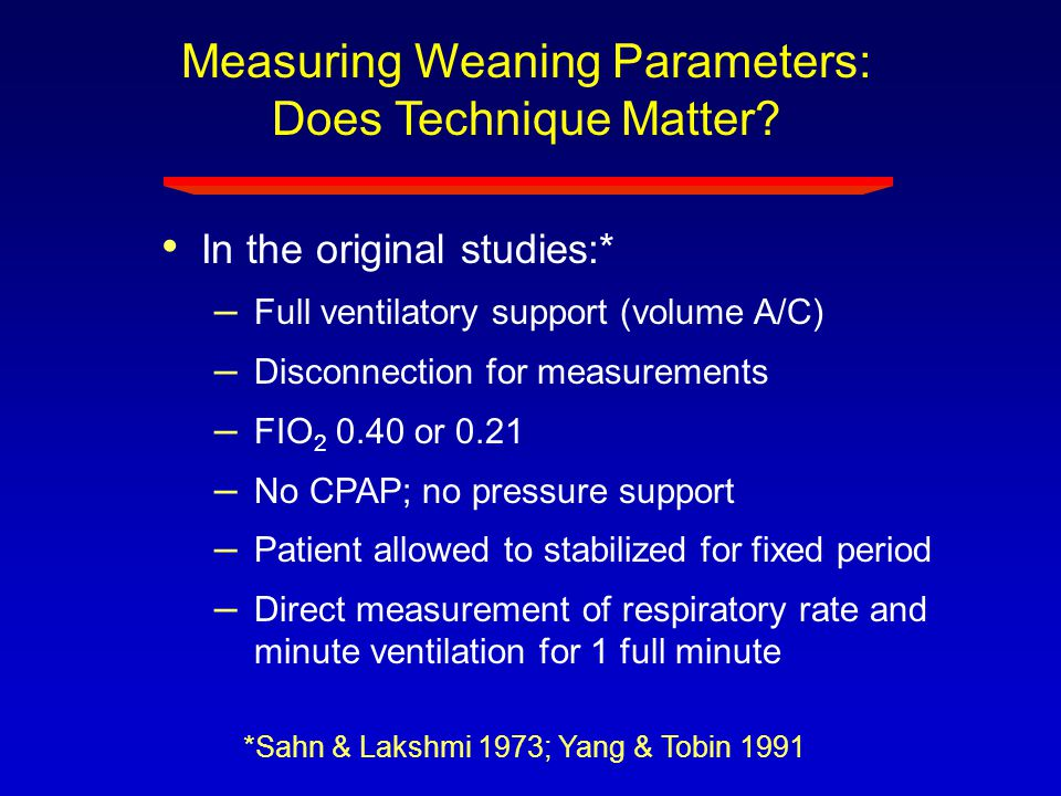Measuring Weaning Parameters: Does Technique Matter