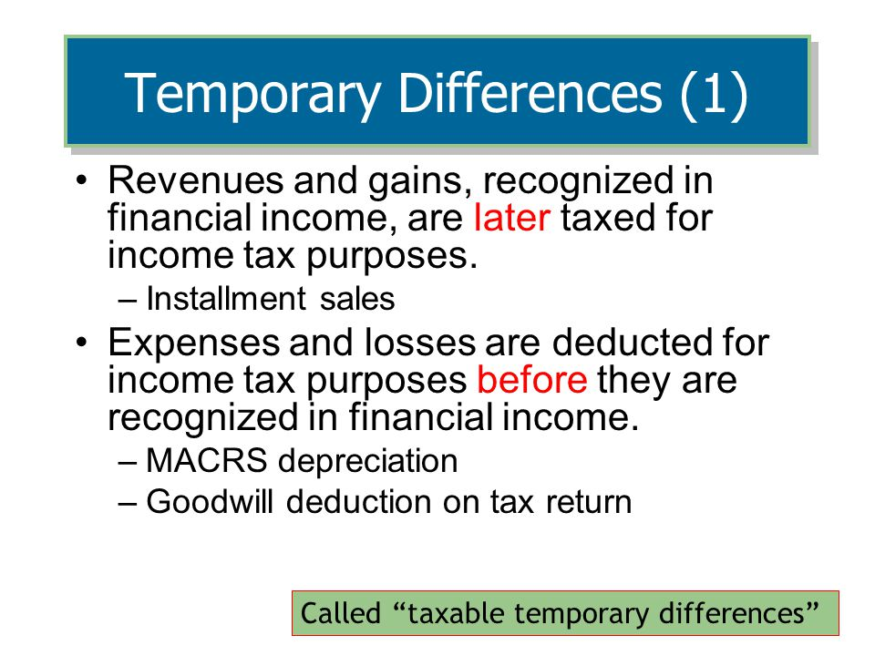 Temporary Differences (1)