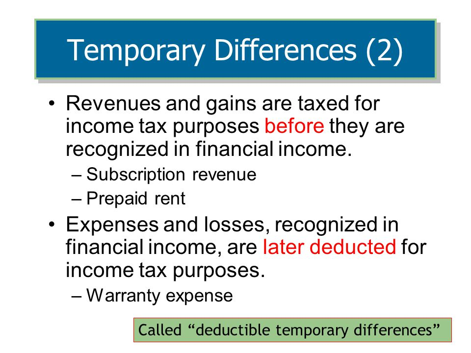 Temporary Differences (2)