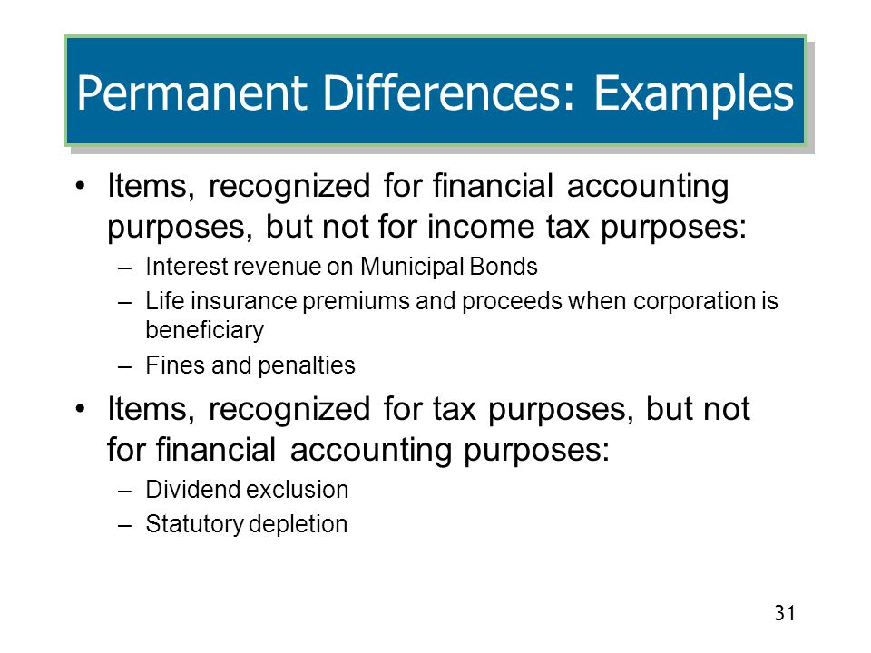 Permanent Differences: Examples