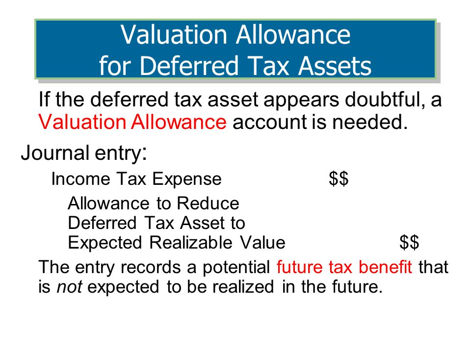 Valuation Allowance for Deferred Tax Assets