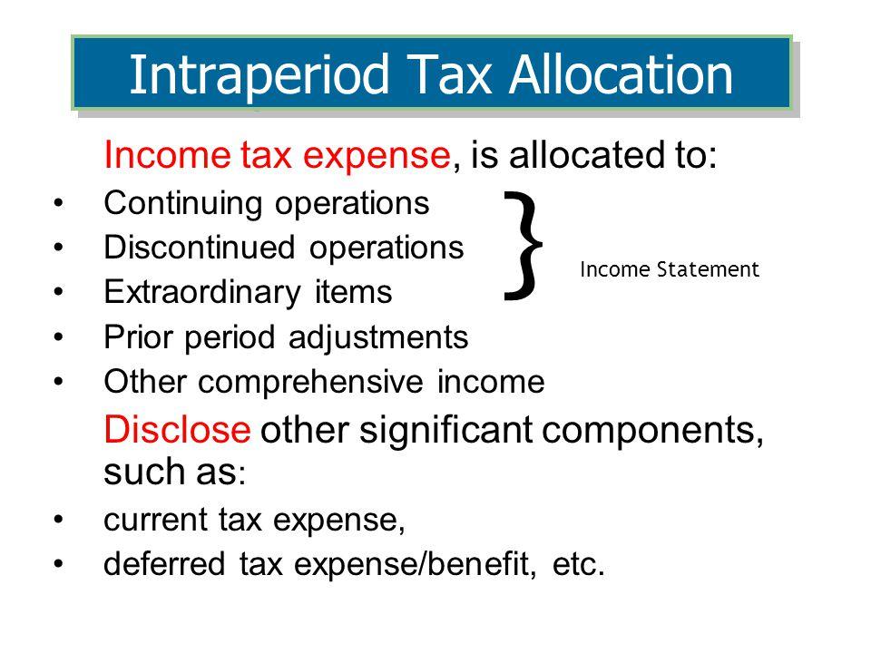 Intraperiod Tax Allocation