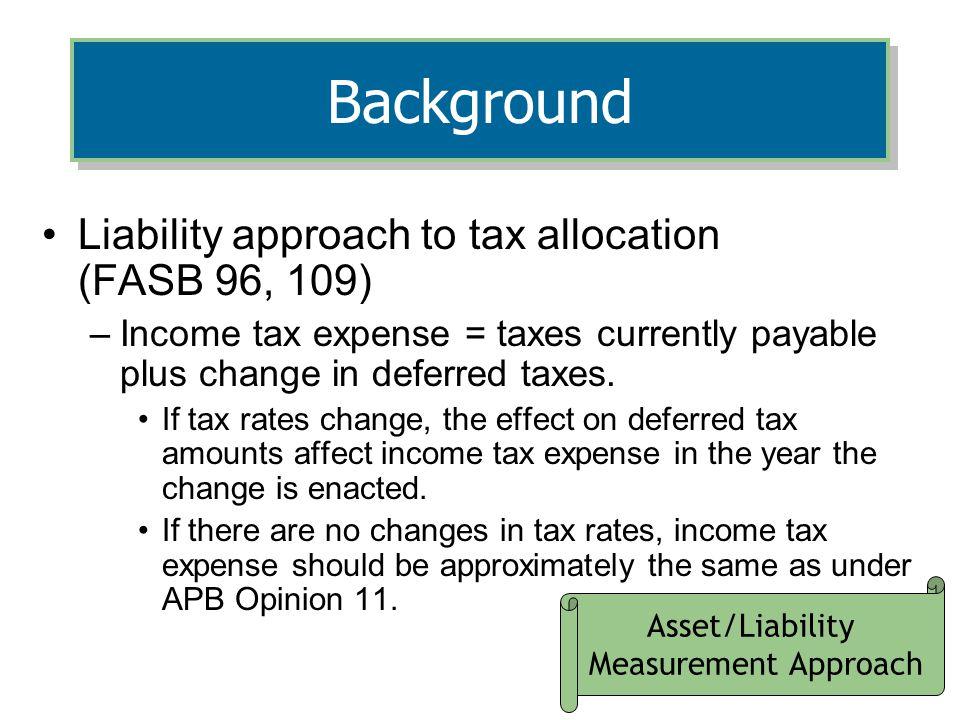 Asset/Liability Measurement Approach