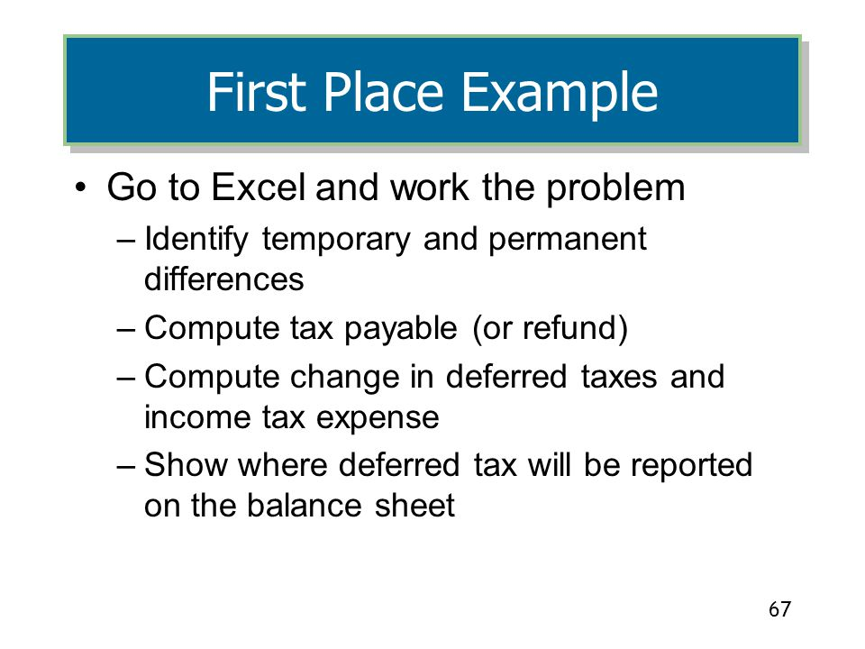 First Place Example Go to Excel and work the problem