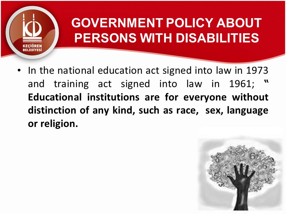 GOVERNMENT POLICY ABOUT PERSONS WITH DISABILITIES
