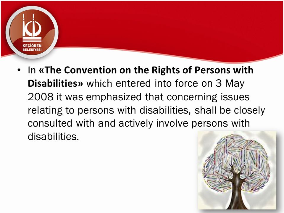 In «The Convention on the Rights of Persons with Disabilities» which entered into force on 3 May 2008 it was emphasized that concerning issues relating to persons with disabilities, shall be closely consulted with and actively involve persons with disabilities.