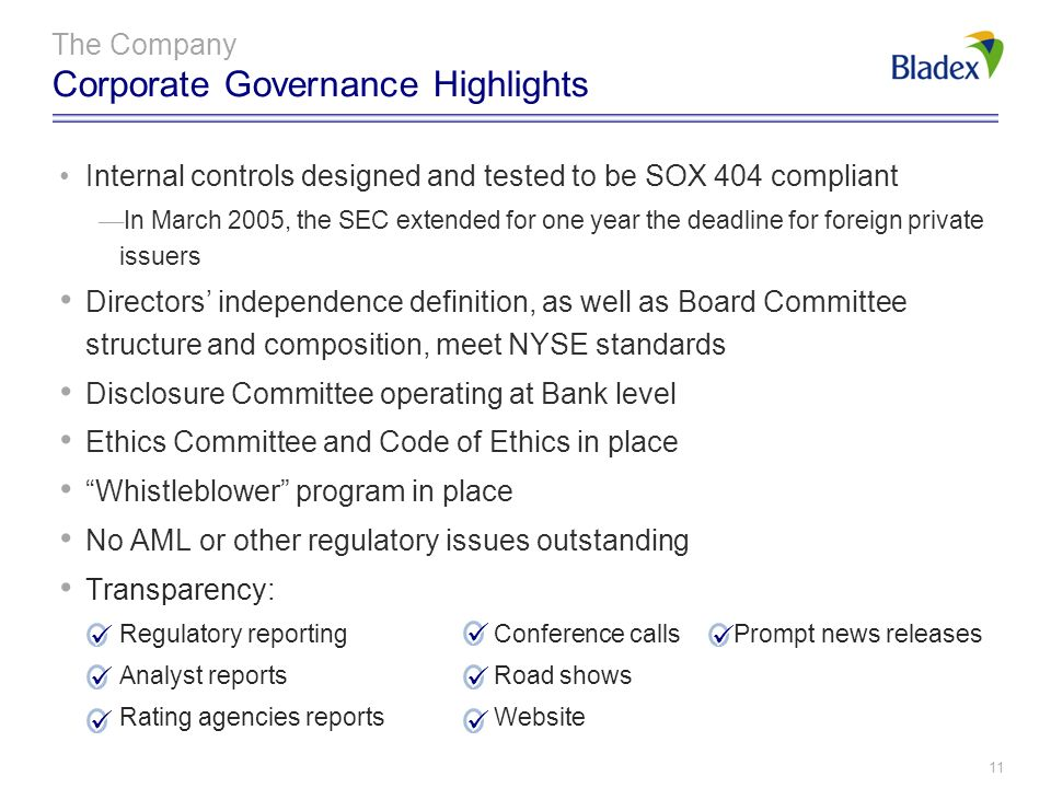 The Company Corporate Governance Highlights