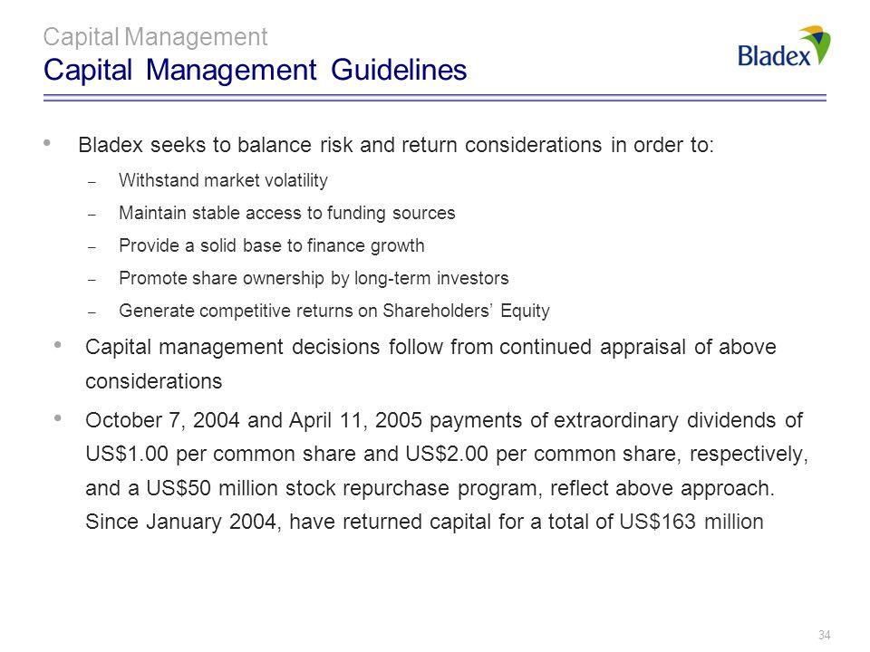 Capital Management Capital Management Guidelines