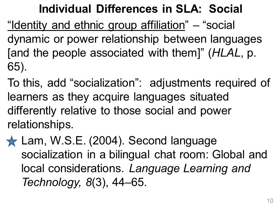 Individual Differences in SLA: Social
