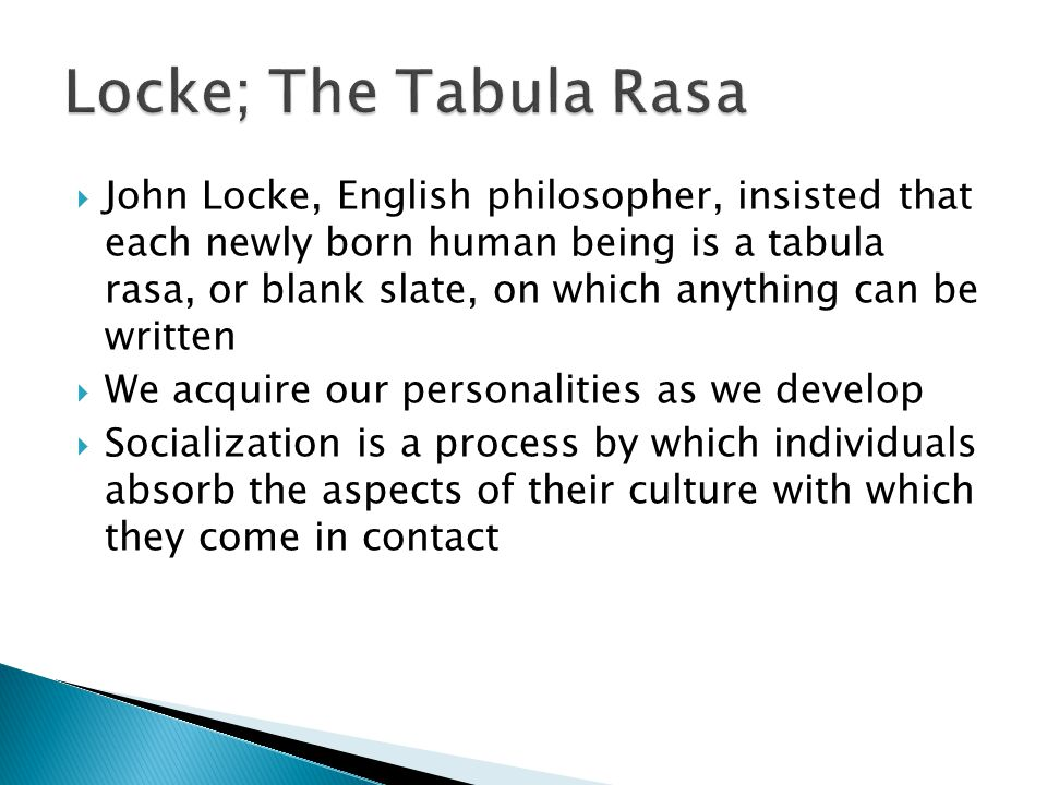 Locke; The Tabula Rasa