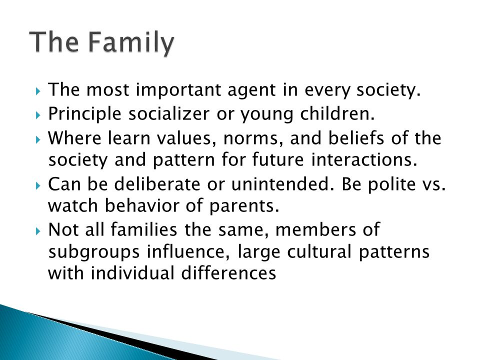 The Family The most important agent in every society.