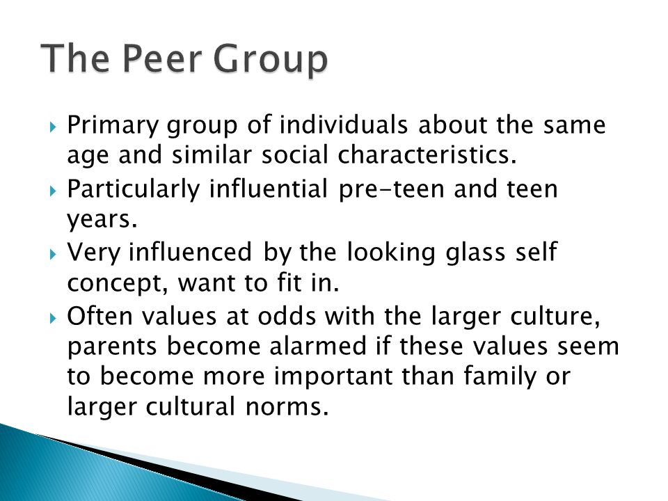 The Peer Group Primary group of individuals about the same age and similar social characteristics.