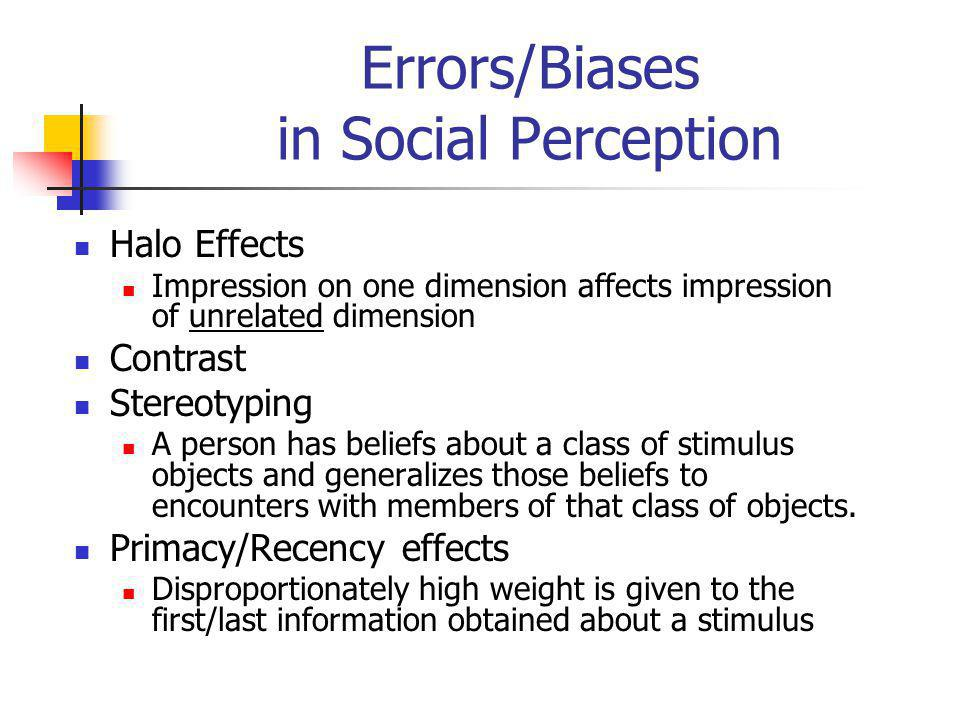 Errors/Biases in Social Perception