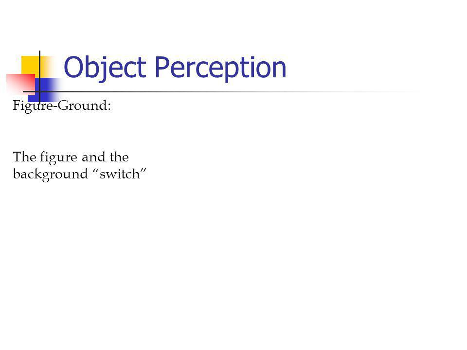 Object Perception Figure-Ground: The figure and the