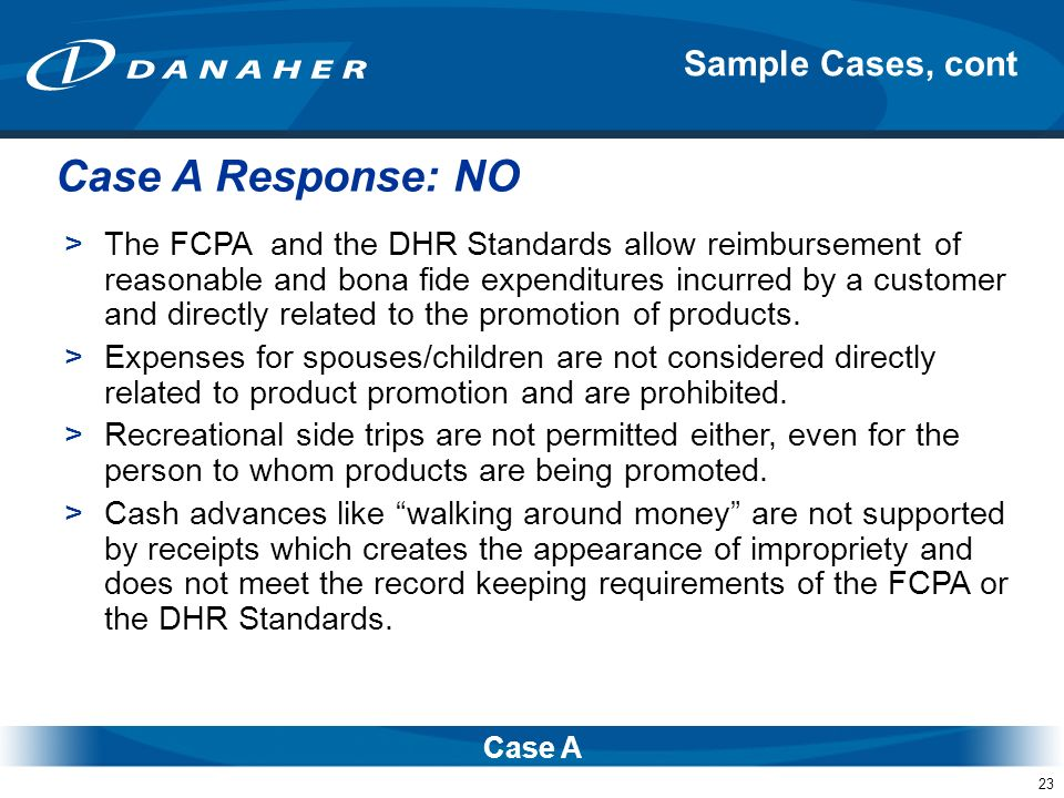 Case A Response: NO Sample Cases, cont
