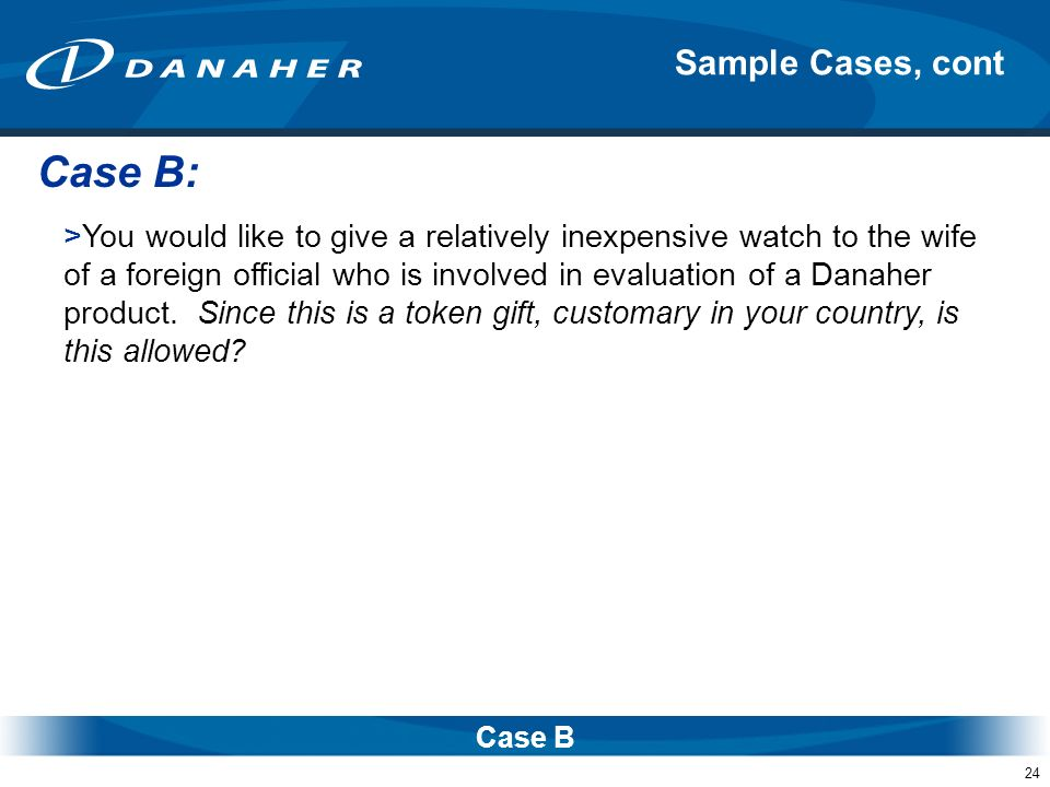Case B: Sample Cases, cont