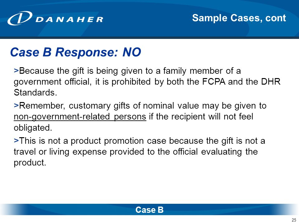 Case B Response: NO Sample Cases, cont