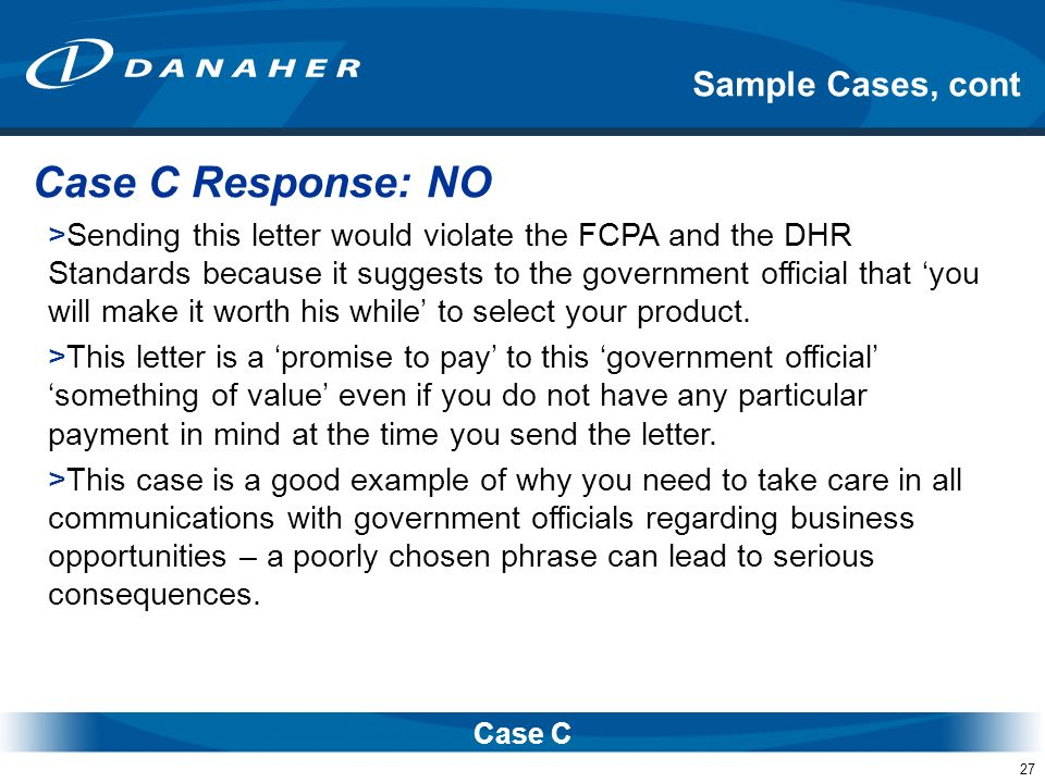 Case C Response: NO Sample Cases, cont
