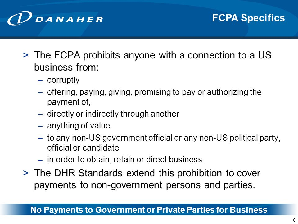 No Payments to Government or Private Parties for Business