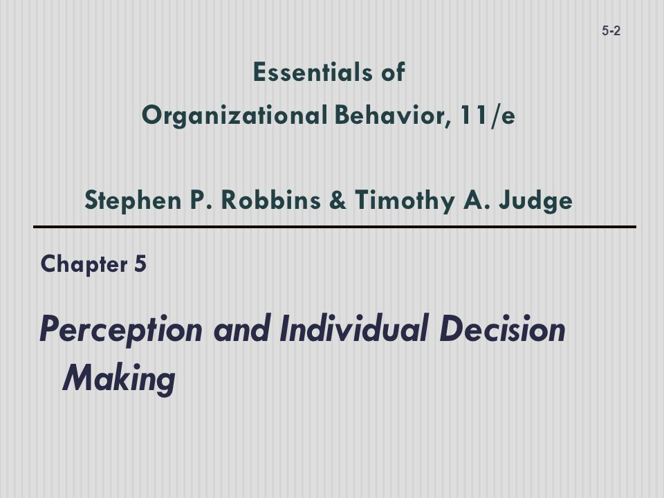 Chapter 5 Perception and Individual Decision Making