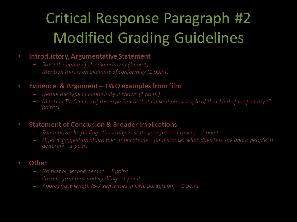 Critical Response Paragraph #2 Modified Grading Guidelines