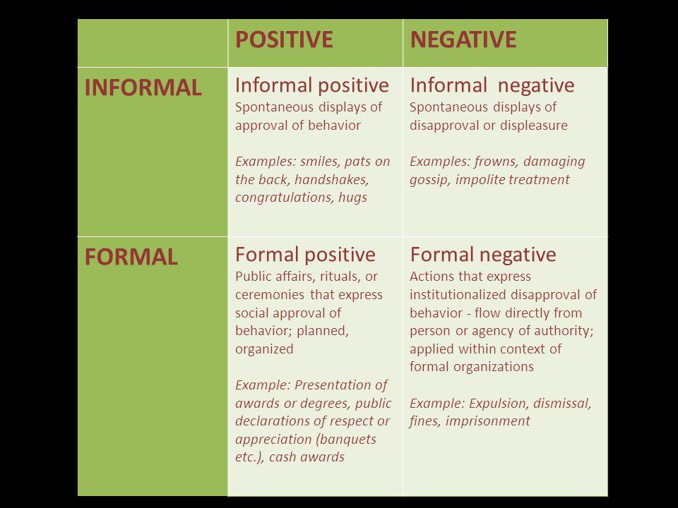 POSITIVE NEGATIVE INFORMAL FORMAL Informal positive Informal negative