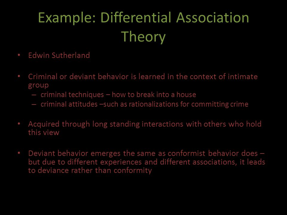 Example: Differential Association Theory