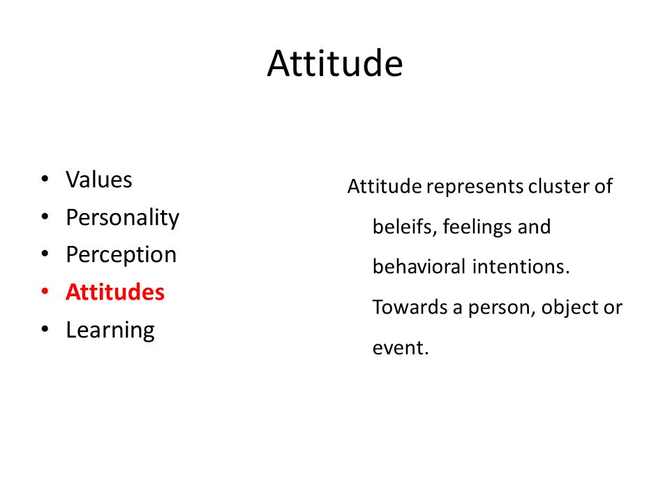 Of personality perception and attitude